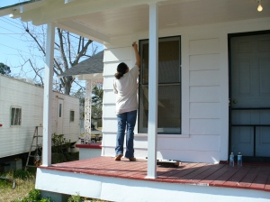 Painting the back porch
