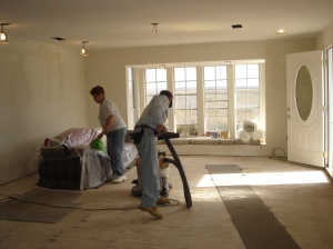 Cleaning living room