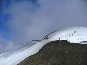 Hiking to the summit